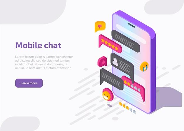 Interface d'application de chat mobile sur l'écran du smartphone avec message, emoji, bulles dans la boîte de dialogue.