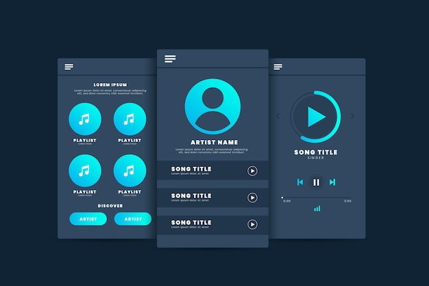 Interface d'application du modèle de lecteur de musique