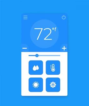 Interface d'application du thermostat, interface utilisateur mobile
