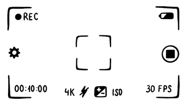 Interface de l'application du viseur de l'appareil photo sur l'écran du smartphone mode film croquis de style doodle