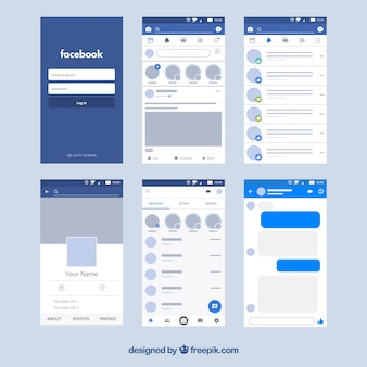 Interface d'application facebook avec un design minimaliste