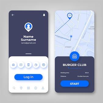 Interface de l'application de localisation