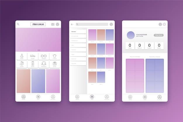 Interface de l'application de magasinage de mode