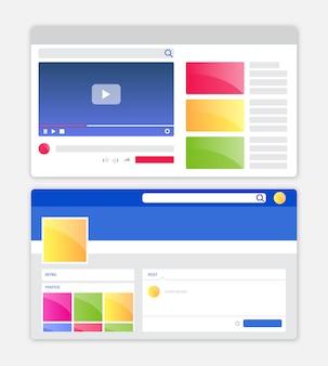 Interface de l'application de médias sociaux avec un design plat