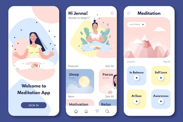 Interface de l'application de méditation