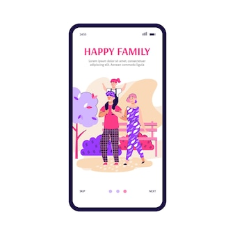 Interface d'application mobile sur l'écran du téléphone pour une famille heureuse marchant et se reposant dans le parc mère père et ...