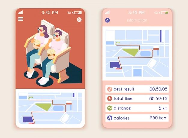 Interface d'application mobile isométrique de style de vie sédentaire avec des compositions verticales cartographie le compteur de calories et les cinéphiles assis