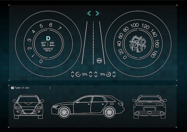 L'interface d'application pour la réparation et l'entretien des pièces automobiles. vues avant, arrière et latérale de la voiture. infographie du transport de marchandises et du transport.