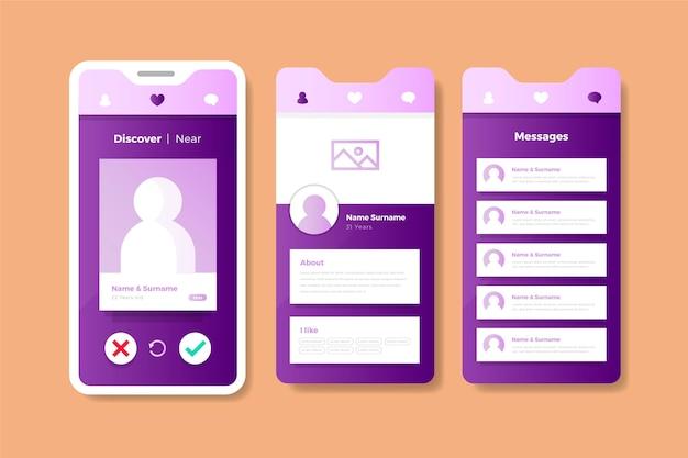 Interface d'application de rencontres rose pastel et violet