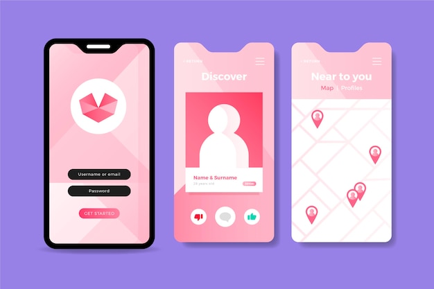 Interface d'application de rencontres rose sur téléphone mobile