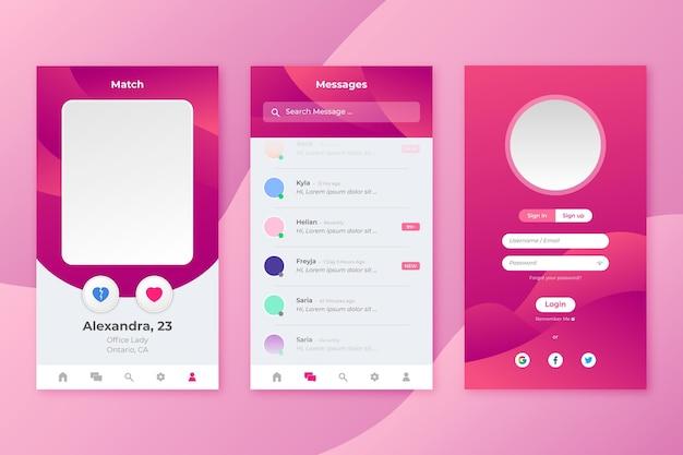 Interface d'application de rencontres