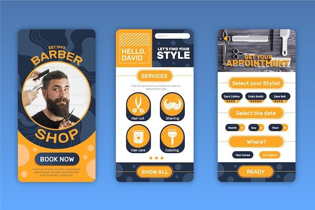 Interface de l'application de réservation barber shop