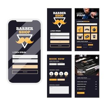 Interface de l'application de réservation barber shop