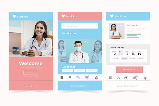 Interface d'application de réservation médicale avec photo
