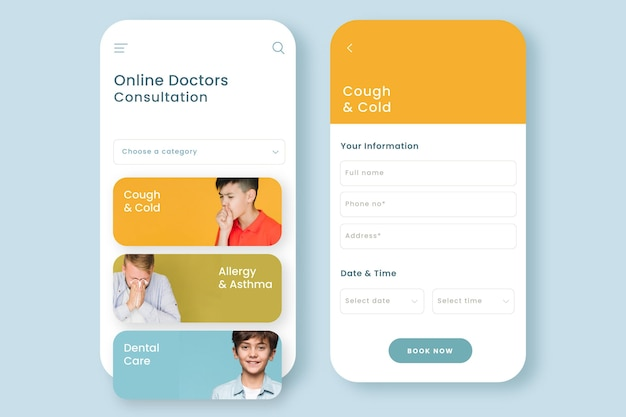 Interface d'application de réservation médicale