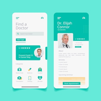Interface d'application de réservation médicale