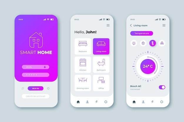 Interface de l'application smart home