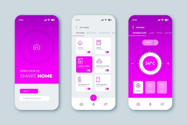 Interface de l'application smart home