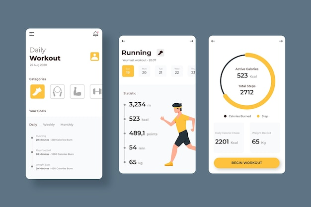 Interface de l'application de suivi d'entraînement