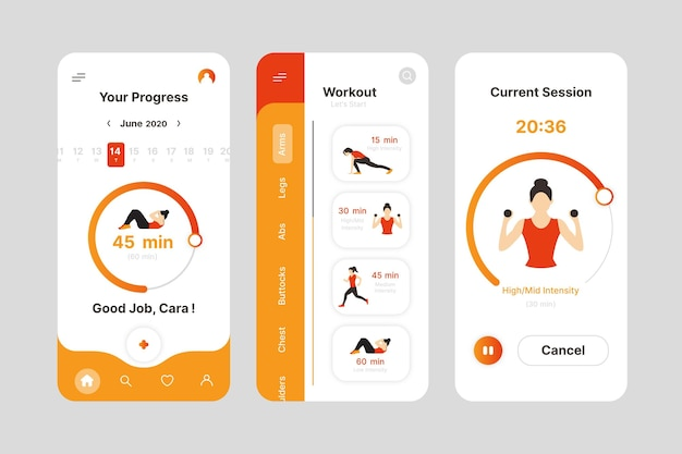 Interface de l'application de suivi d'entraînement