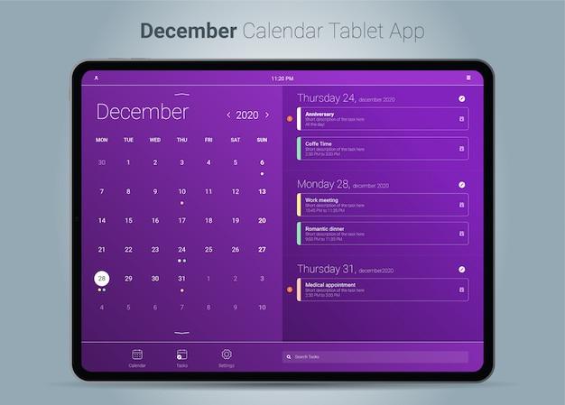 Interface de l'application tablette du calendrier de décembre