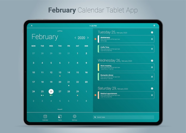 Interface de l'application tablette du calendrier de février