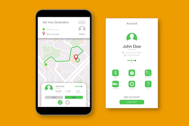 Interface d'application de taxi