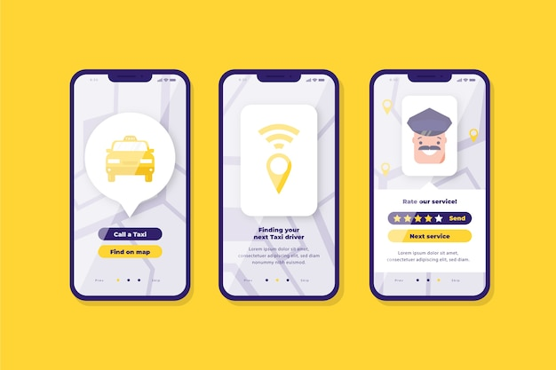 Interface de l'application de taxi