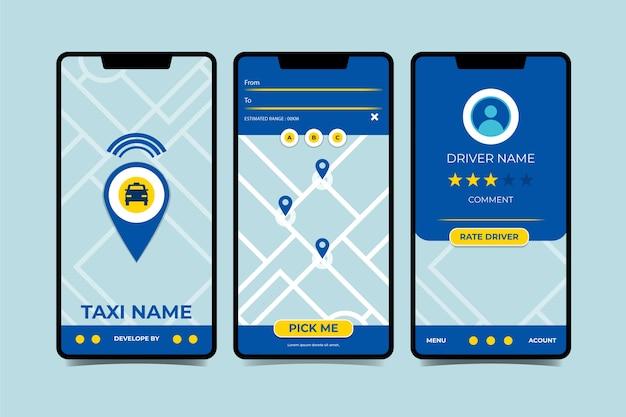 Interface de l'application de taxi