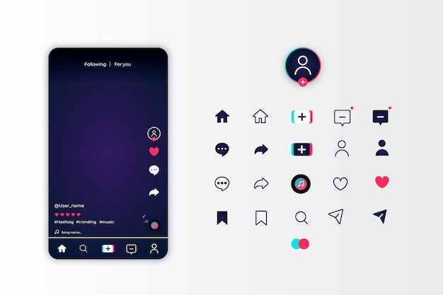 Interface de l'application tiktok et jeu d'icônes