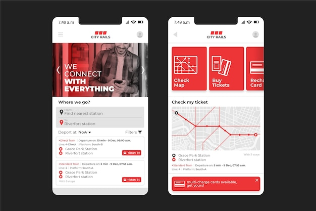 Interface de l'application de transport public
