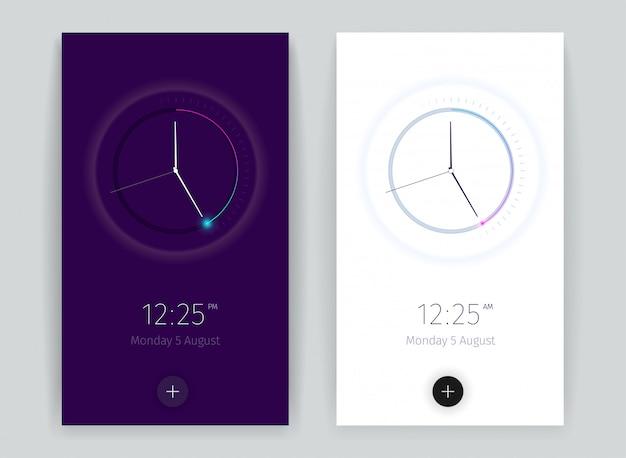Interface bannières d'application de compte à rebours sertie de symboles de temps vertical réaliste isolé