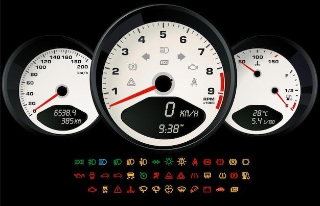 Interface blanche de contrôle de voiture avec un ensemble d'icônes d'information indiquant l'état de la voiture. illustration vectorielle, modèle de jeu ou d'application web