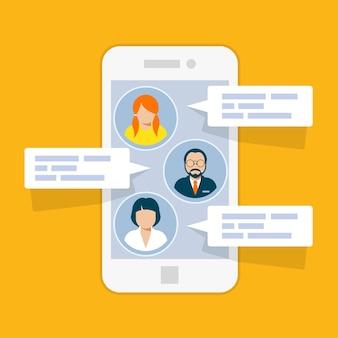 Interface de chat sms - messages courts sur smartphone