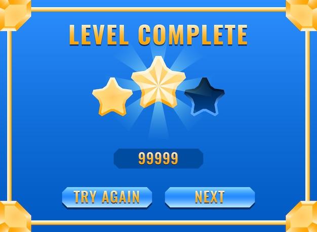 Interface complète de niveau de diamant doré brillant de l'interface utilisateur du jeu pour les éléments d'actif de l'interface graphique
