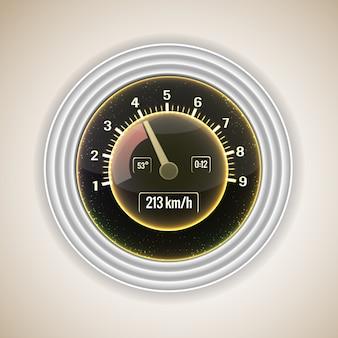Interface de compteur de vitesse de voiture réaliste avec une transmission étapes sur illustration vectorielle fond dégradé gris