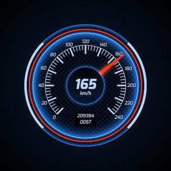 Interface de compteur de vitesse de voiture de vecteur réaliste