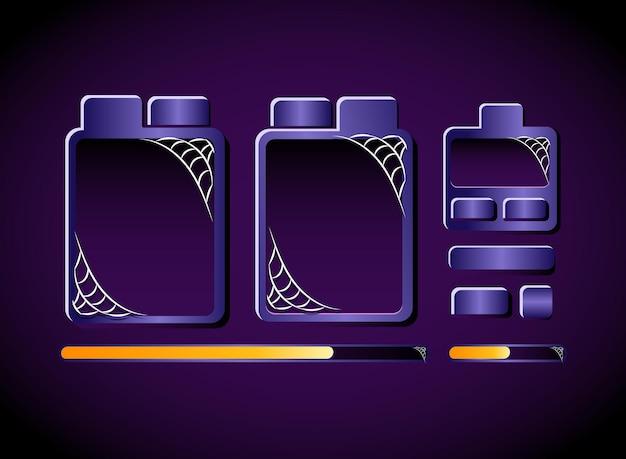 Interface contextuelle du tableau de modèle halloween violet foncé de l'interface utilisateur du jeu