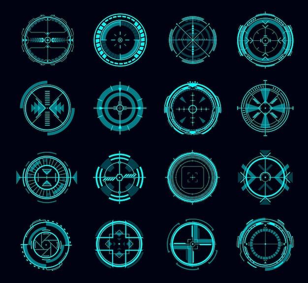 Interface de contrôle de visée hud, cible ou navigation