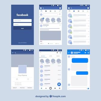 Interface d'application Facebook avec un design minimaliste