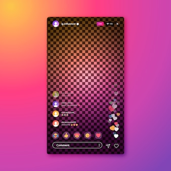 Interface de diffusion en direct du modèle d'application instagram