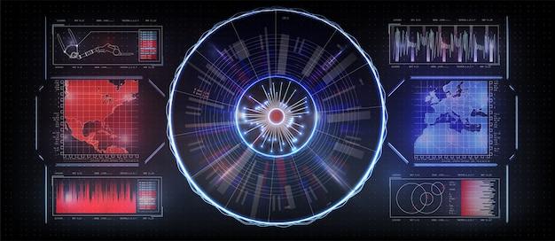 Interface du futur, définir l'interface de l'outil. affichage tête haute hud. confrontation de l'état sur la carte.