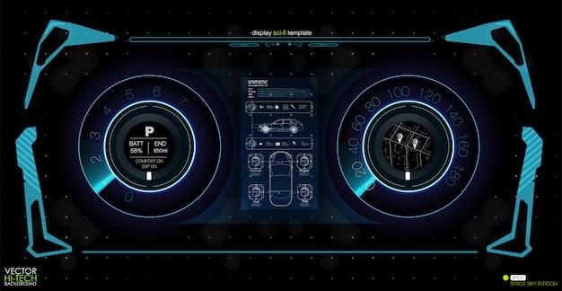 Interface du futur, interface définie de l'outil. affichage tête haute hud. confrontation de l'état sur la carte.