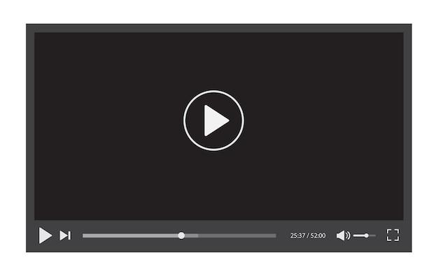Interface du lecteur vidéo. conception de modèle de streaming vidéo.