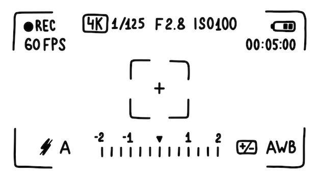 Interface du viseur de la caméra, écran. mode film. croquis de style doodle. illustration vectorielle.