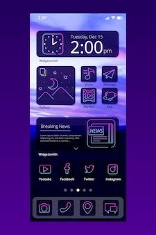 Interface de l'écran d'accueil neon