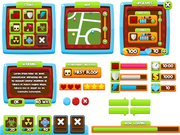 Interface graphique de jeu coloré