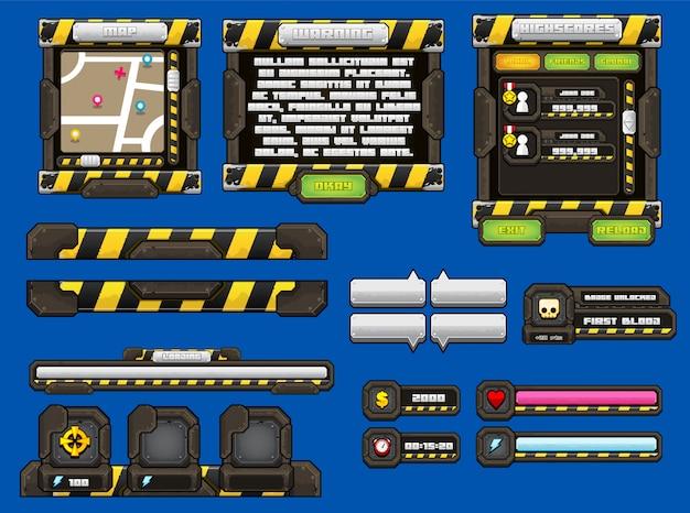 Interface graphique de jeu en métal