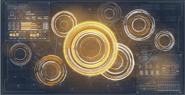 Interface holographique utilisateur bleu futuriste hud avec éléments d'interface utilisateur gui hud jeu holographique personnalisé p