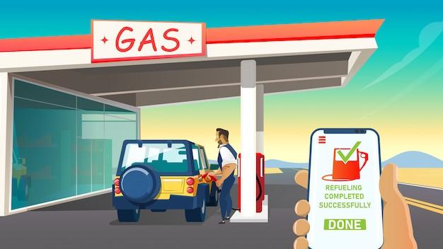 Interface homme et logiciel contrôlant le niveau de carburant.